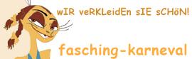 fasching-karneval.de - denn wIR veRKLeidEn sIE sChöN!! Kostüme für Karneval Fasching Halloween-Logo