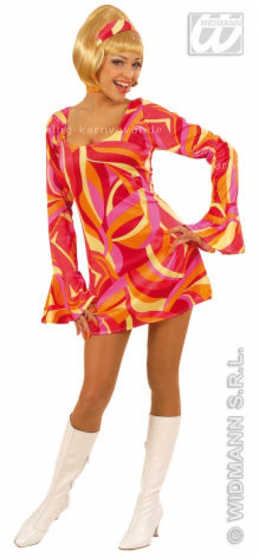 70erFlowerpower-Minikleid orange